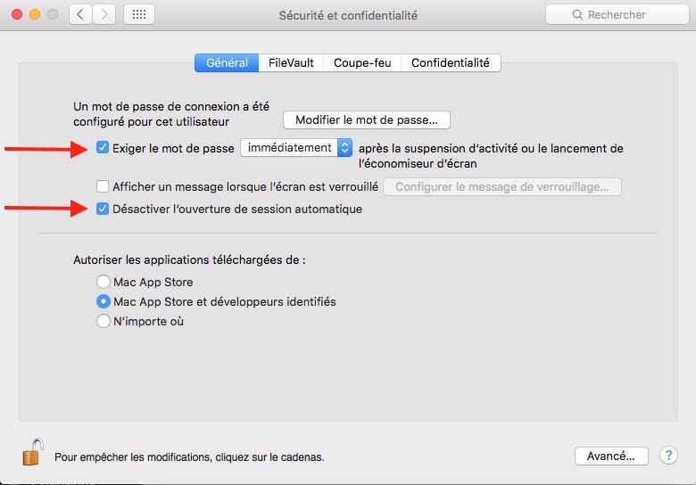 Verrouiller l'accès au Mac-mot de passe au démarrage