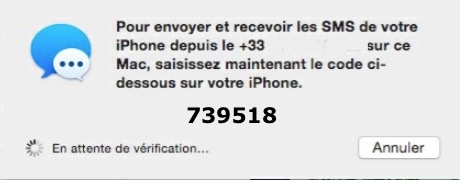Messages et iMessage-code confirmation transfert SMS