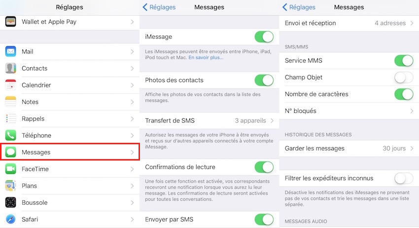 Messages et iMessage-Configuration Message sur iOS