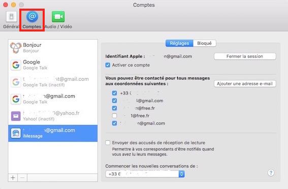 iMessage et sms-activer compte