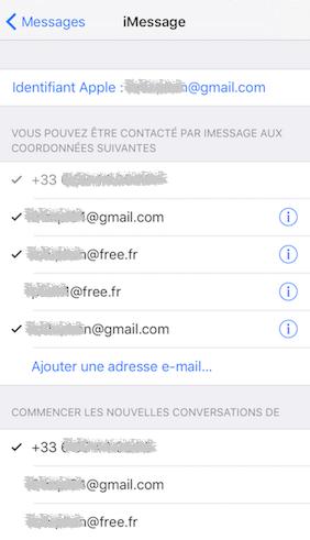 iMessage et SMS-envoi et réception