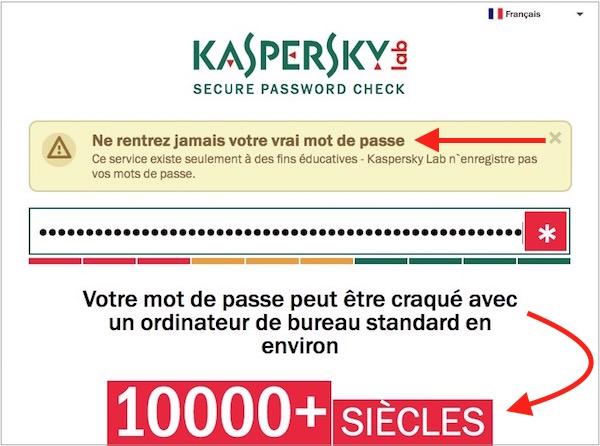 Créer mot de passe-Test Kaspersky