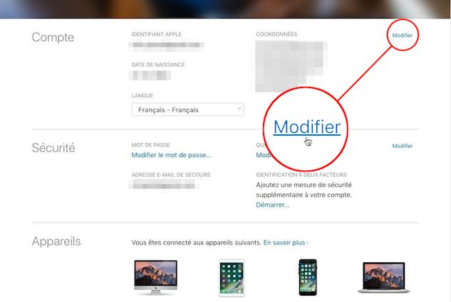 identifiant Apple-Modifier