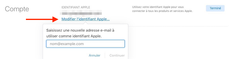 identifiant Apple-Nouvel identifiant