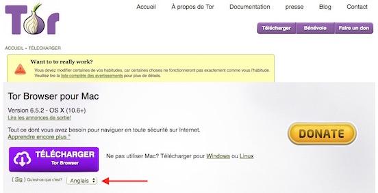 Tor - fenêtre téléchargement