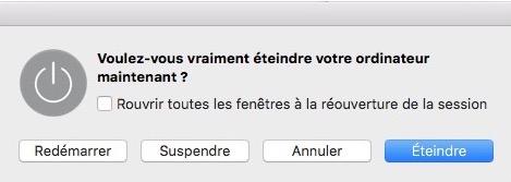 pour éteindre rapidement le Mac