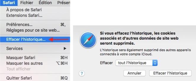 astuces safari pour Effacer historique sur macOS