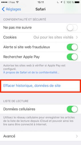 Effacer historique Safari iOS