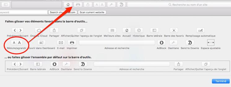 astuces pour Safari-glisser ce bouton dans la barre de menu pour réduire ou agrandir