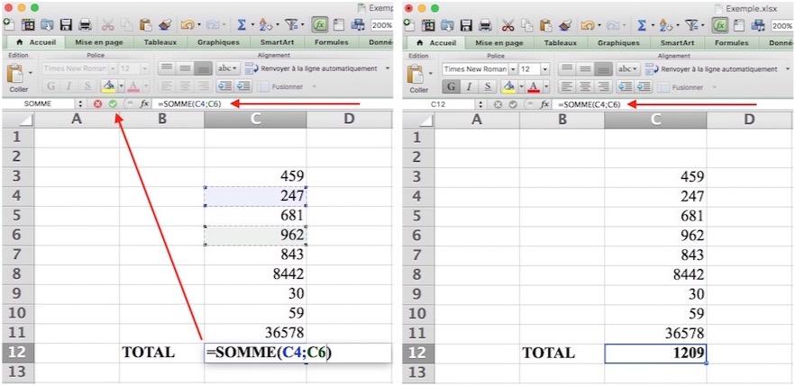 Somme automatique Excel-Sélection discontinue