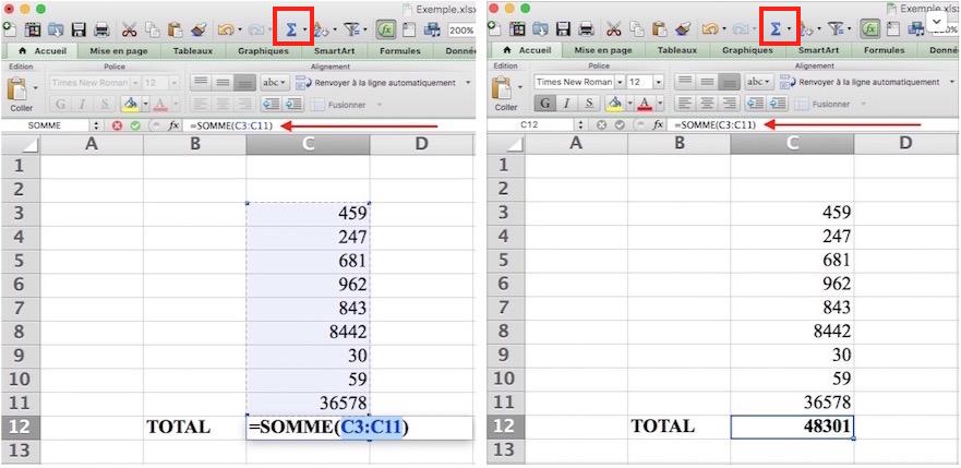 Somme automatique Excel-sélection de l'ensemble des cellules