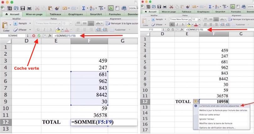 Somme automatique Excel-Sélection partielle de cellules