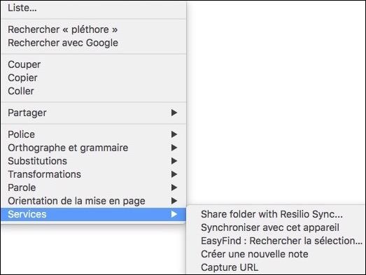 Les Services macOS-Liste des services