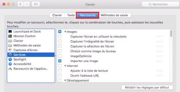 Les Services macOS-Activer ou désactiver les Services