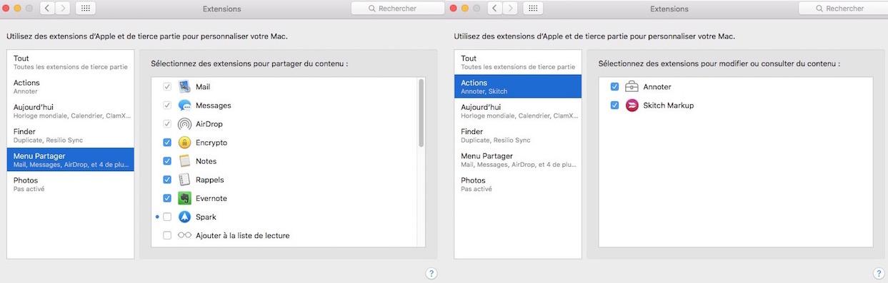Le menu Partager-Activer ou désactiver les extensions