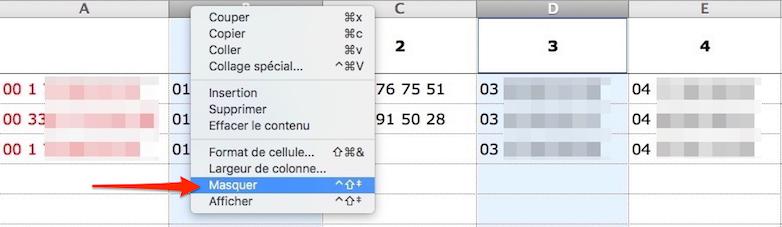 Astuces sur Excel-Masquer colonnes