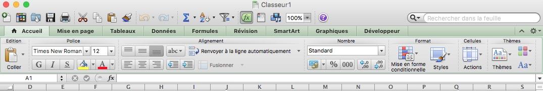 Paramétrages sur Excel-Ruban