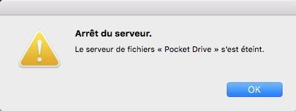 Pocket Drive-Arrêt du serveur