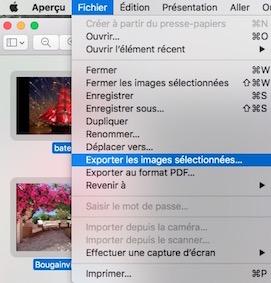 Aperçu et les fichiers image-Export des images