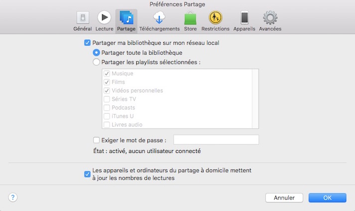 iTunes-Préférences Partage
