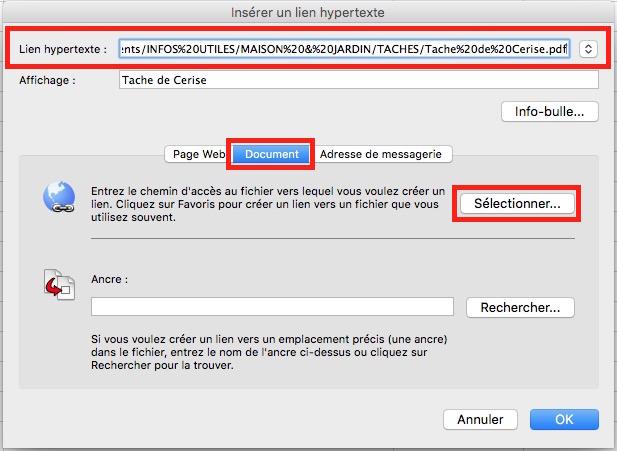 Lien hypertexte-Sélection du fichier