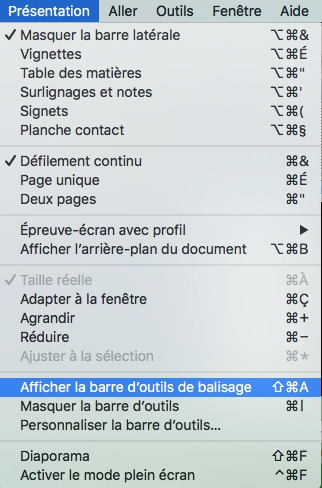 Aperçu-Affichage barre outils balisage