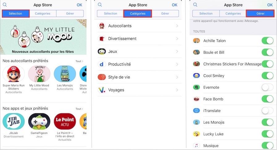 Astuces SMS-Choix de stickers dans l'App Store