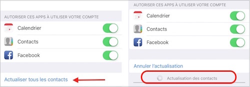 Actualiser contacts FB
