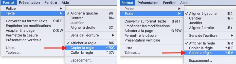 TextEdit-copier/coller règle