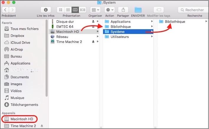 Bibliothèque du Macintosh HD et celle du Système