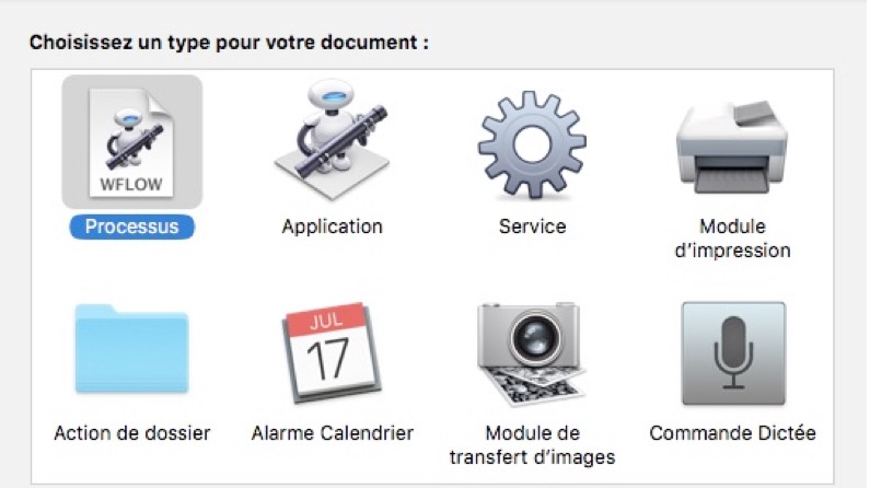Exemples d'actions Automator
