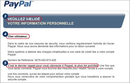 Mail frauduleux
