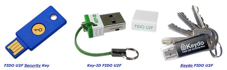 Exemples de clés U2F