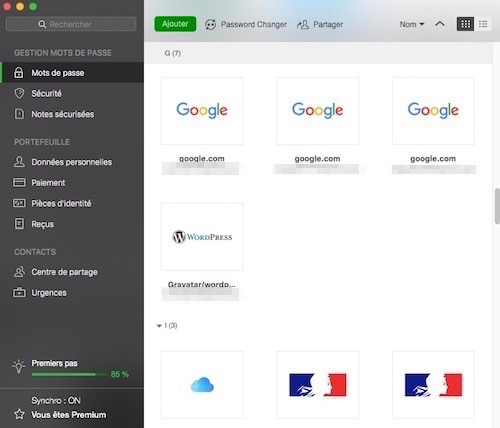 Interface de Dashlane