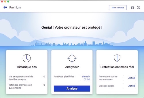 Interface de Malwarebytes