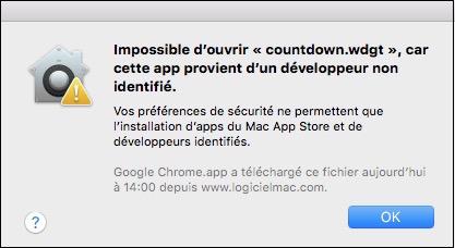 Système de protection du Mac-Alerte Gatekeeper