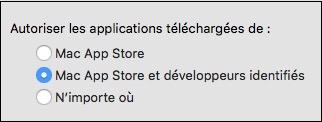 Système de protection du Mac-Fenêtre d'options