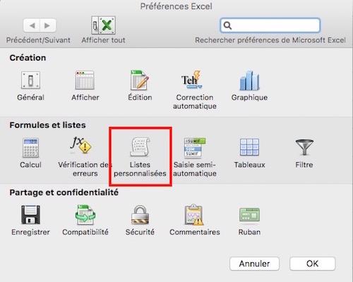 Préférences Excel