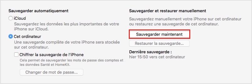Préparer iPhone pour la revente-Bouton de sauvegarde