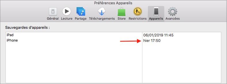 Préparer iPhone pour la revente-Vérification des sauvegardes