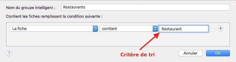 Application Contacts-Critère de tri