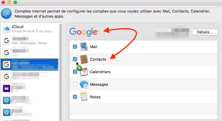 Compte Google relié à Contacts