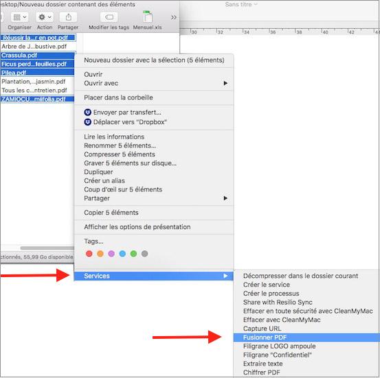 AUTOMATOR et fusion des fichiers PDF-Menu Services