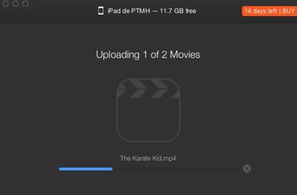 Convertir des fichiers vidéo avec WALTR-Le processus démarre