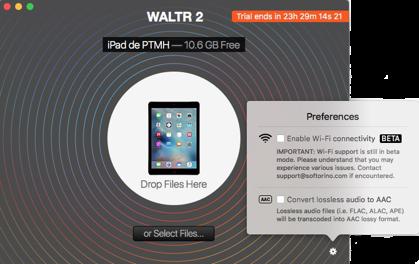 Convertir des fichiers vidéo avec WALTR-Déplacer ici votre fichier musique