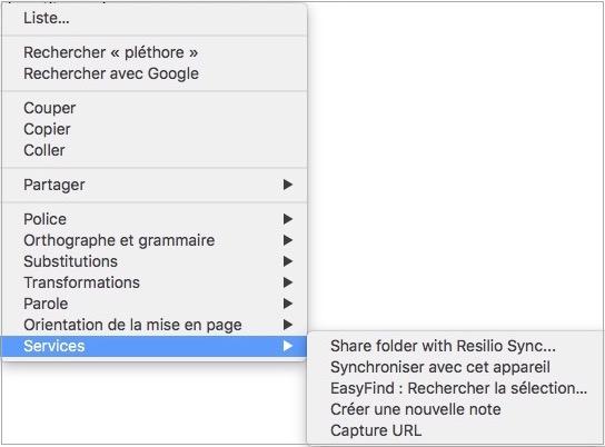 Les Services macOS - Possibilités menu Service