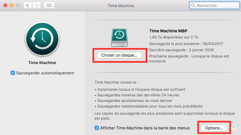 Accueil Time Machine